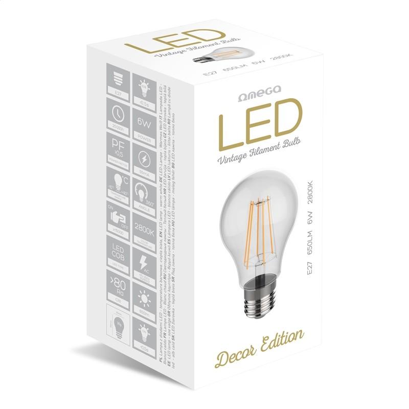 Bombilla Filamento LED Omega Filament E27 6W 2800K 650lm