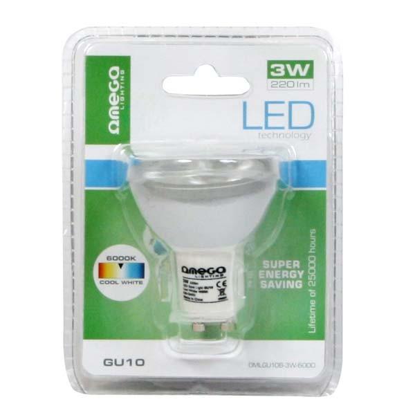 Foco LED Omega SpotLight Aluminium 3W 6000k GU10 (220lum)