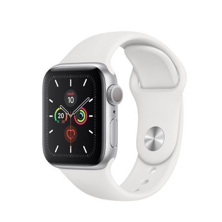 Apple Watch Series 5 GPS 40mm Caja Aluminio Plata Correa Deportiva Blanca