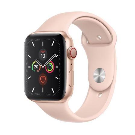 Apple Watch Series 5 GPS-CELL 44mm Caja Aluminio Oro Correa Deportiva Rosa Arena