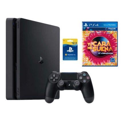 Sony PlayStation 4 Slim 1TB + Tu Cara Me Suena + 12 Meses Playstation Network