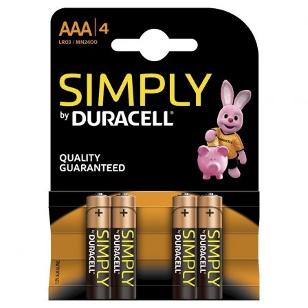 Pila Alcalina AAA Duracell Simply pack 4 uds (LR03)