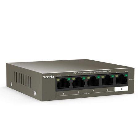 SWITCH TENDA TEF1105P-4-63W V2.0 - NO GESTIONABLE - 5 PUERTOS 10/100 (4 DE ELLOS