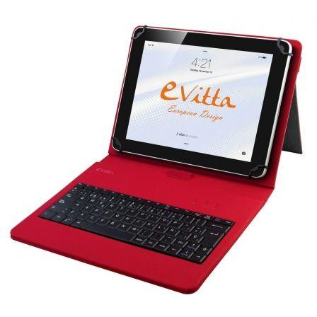 FUNDA CON TECLADO E-VITTA ROJA PARA TABLET DE 9.7/10.1-24.6/25.65CM - USB - 83 T
