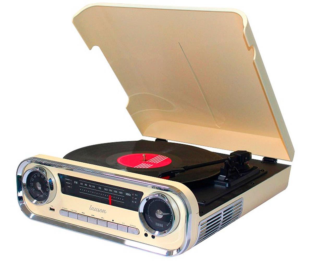 LAUSON 01TT15 CREMA TOCADISCOS VINTAGE 3 VELOCIDADES BLUETOOTH USB GRABACIÓN MP3