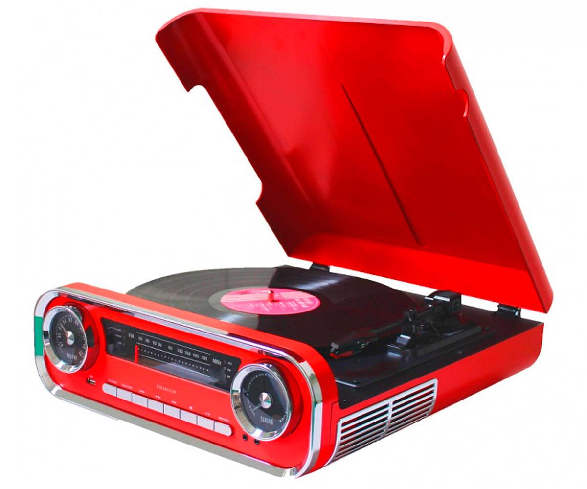 LAUSON 01TT15 ROJO TOCADISCOS VINTAGE 3 VELOCIDADES BLUETOOTH USB GRABACIÓN MP3
