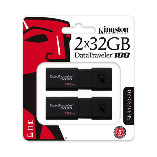 Pendrive 32GB Kingston DataTraveler 100 G3 USB 3.0 (Pack de 2 unidades)