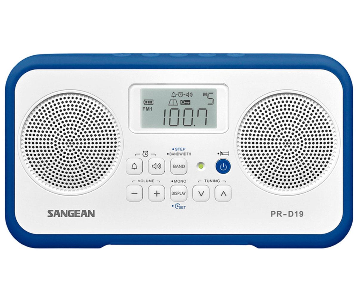 SANGEAN PR-D19 BLANCO AZUL OSCURO RADIO DIGITAL PORTÁTIL FM AM PANTALLA LCD ALAR