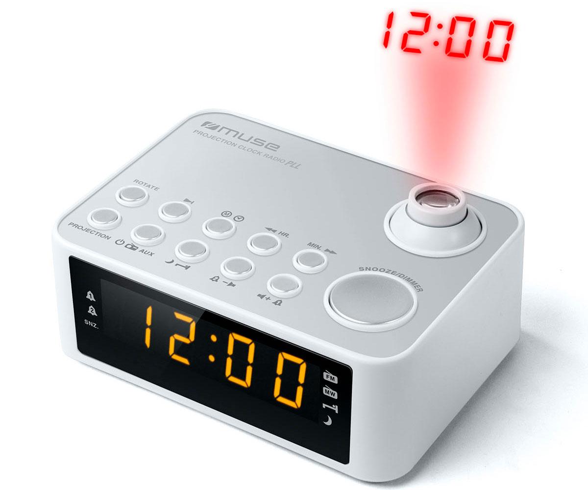MUSE M-178 PW BLANCO RADIO DESPERTADOR AM/FM CON ALTAVOZ INTEGRADO Y PROYECTOR D