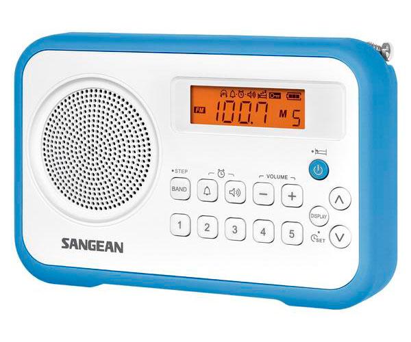 SANGEAN PRD18 B-A AZUL BLANCO RADIO DIGITAL PORTÁTIL FM AM PANTALLA LCD ALARMA B