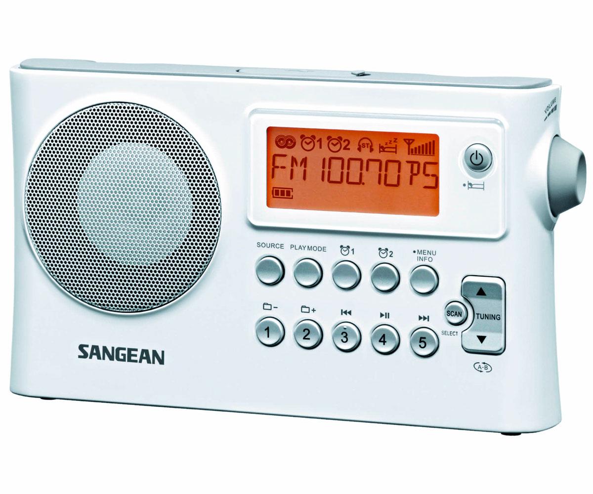 SANGEAN PR-D14 BLANCO RADIO DIGITAL PORTÁTIL FM AM USB PANTALLA LCD ALARMA BATER