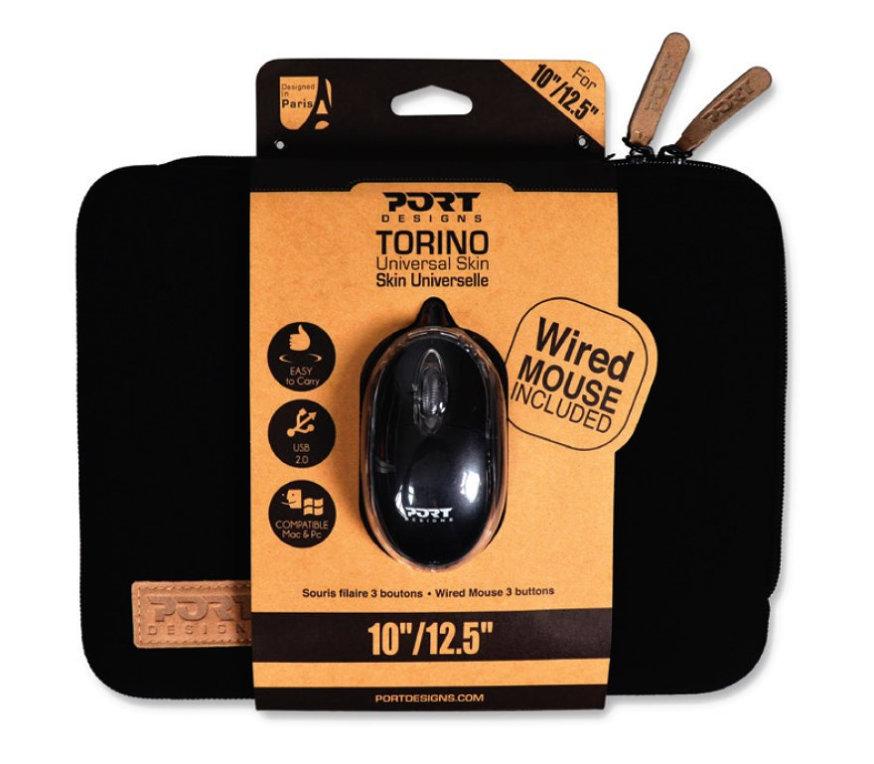 PACK PORT FUNDA PORTATIL TORINO NEGRA 10-12+RATON