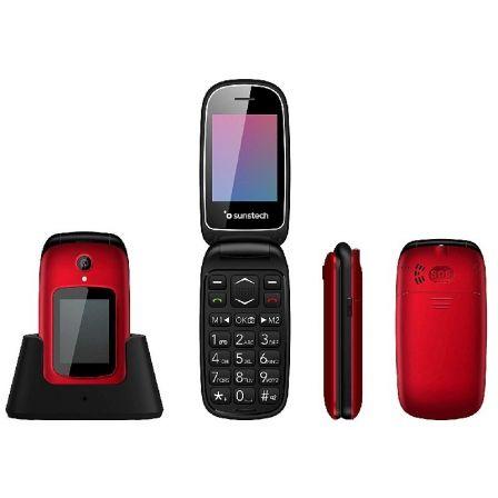 TELÉFONO MÓVIL SUNSTECH CELT22RD RED - DOBLE PANTALLA 2.4/6CM 1.77/4.49CM - BT -