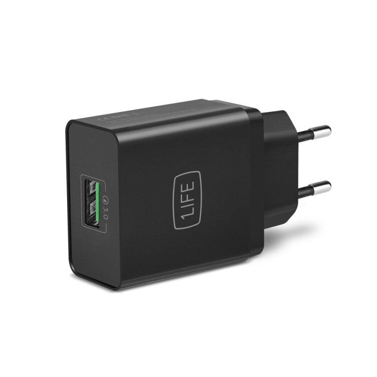 CARGADOR PARED 1LIFE PA DUAL USB NEGRO