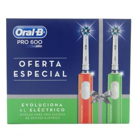 PACK 2 CEPILLOS DENTALES BRAUN ORAL-B PRO600 OFERTA ESPECIAL - NARANJA + VERDE -