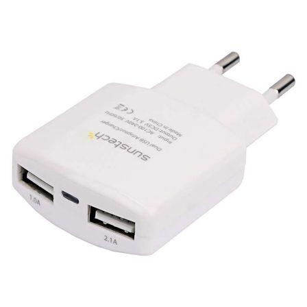 CARGADOR DE PARED SUNSTECH ACU30WT BLANCO- 2*USB (1A/2.1A) - 5V