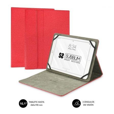 FUNDA UNIVERSAL SUBBLIM CLEVER STAND PARA TABLET HASTA 10.1/25.6CM RED - MATERIA