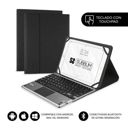 FUNDA CON TECLADO SUBBLIM KEYTAB PRO BLUETOOTH TOUCHPAD BLACK - PARA TABLET 10.1
