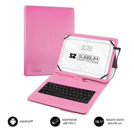 FUNDA CON TECLADO SUBBLIM KEYTAB PRO USB PINK - PARA TABLET DE 10.1/25.65CM - MI