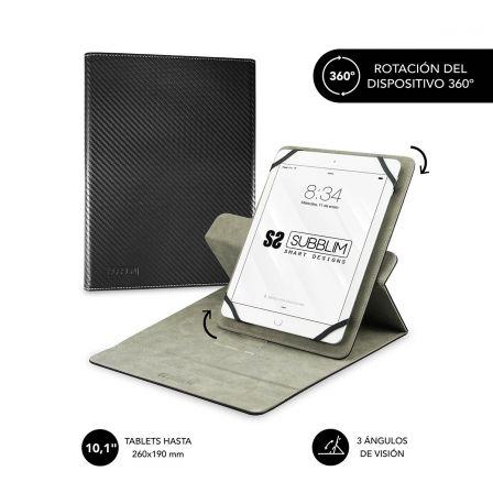 FUNDA UNIVERSAL SUBBLIM ROTATE 360º PARA TABLET HASTA 10.1/25.6CM BLACK - ROTACI