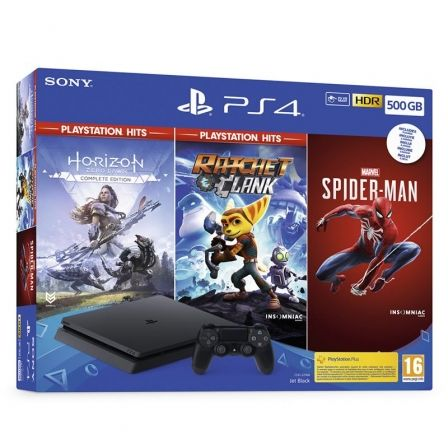 Sony PlayStation 4 Slim 500GB + Horizon Zero Dawn + Ratchet & Clank + Spider-Man