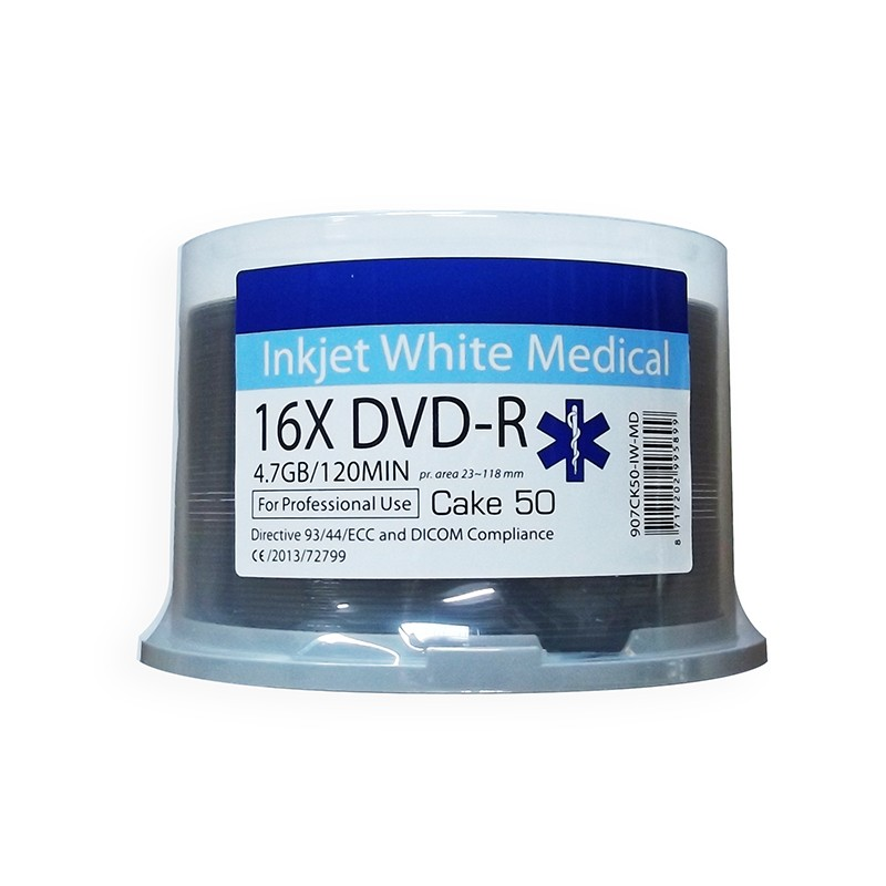 DVD-R 16X Ritek Medical Series Printable FF White Tarrina 50 uds