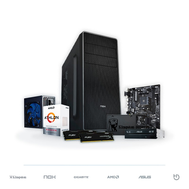 PC BARBANEGRA Athlon 200GE Radeon Vega 3 8GB DDR4 120GB SSD v1.2