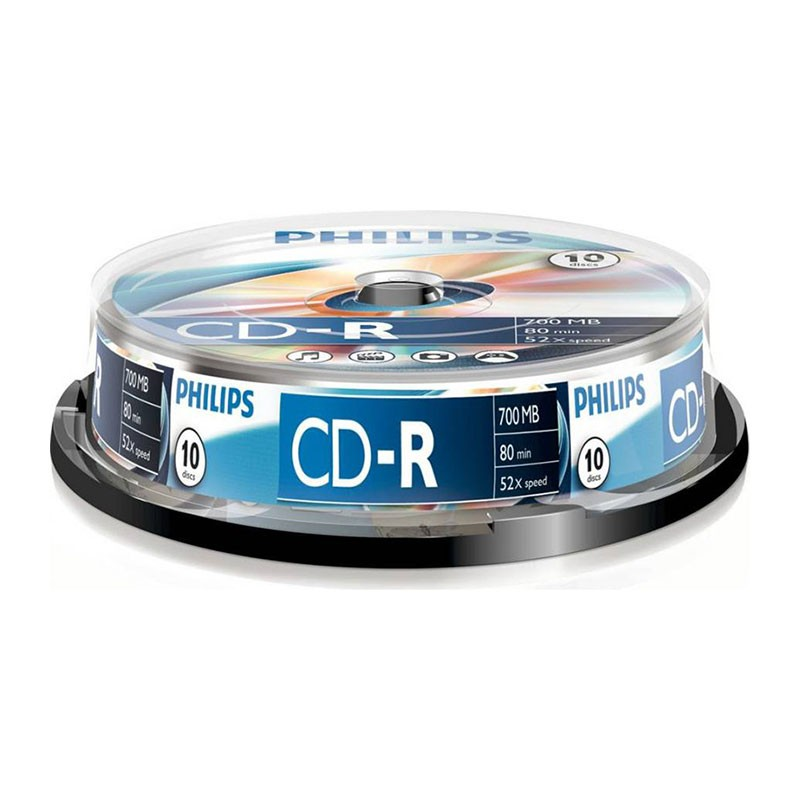 CD-R 52x 700MB Philips Tarrina 10 uds