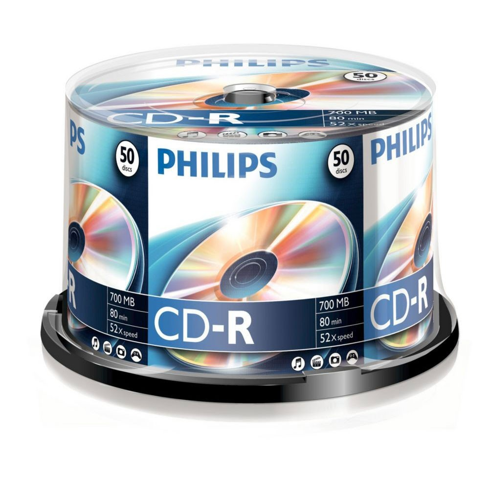 CD-R 52x 700MB Philips Tarrina 50 uds