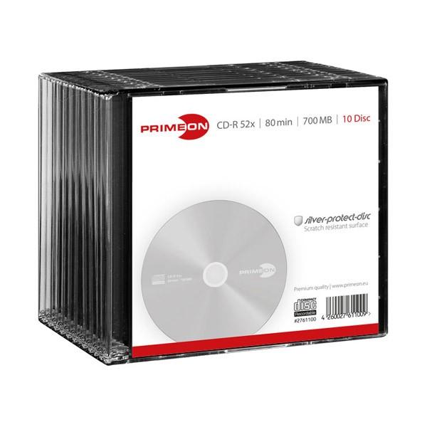 CD-R 52x 700MB Primeon Caja Slim pack 10 uds