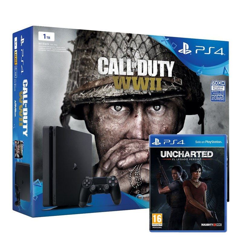 Sony PlayStation 4 Slim 1TB + Call Of Duty WWII + Uncharted 5