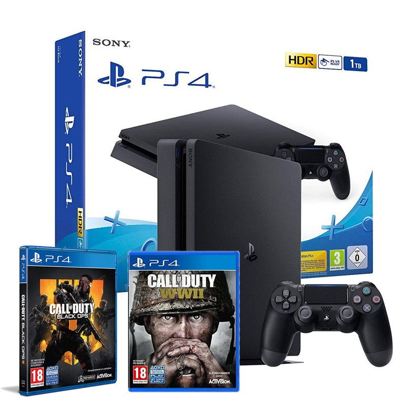 Sony PlayStation 4 Slim 1TB + COD Black Ops 4 + COD WW2
