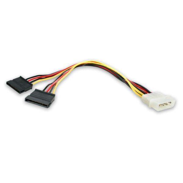 Cable Adaptador de Corriente Y de 12 pulgadas LP4 a 2xSATA