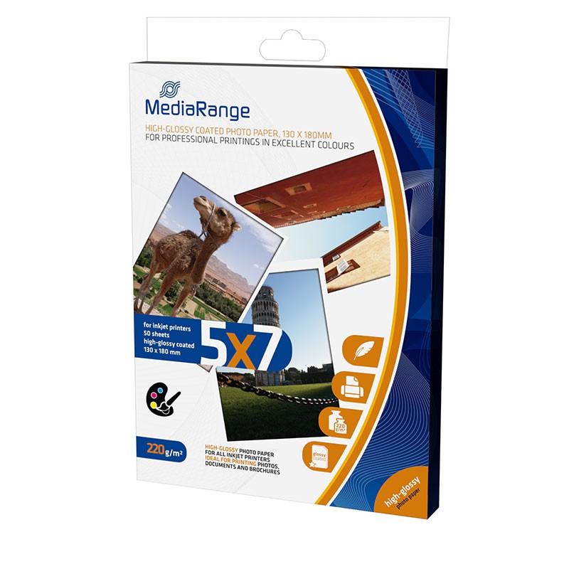 MediaRange Papel Tarjeta Foto Brillante 220 G/m2 Pack 50 uds 130x180mm