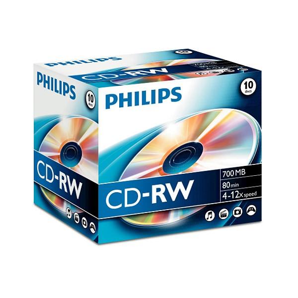 CD-RW 12x 700MB Philips ReWritable Jewel Case pack 10 pcs