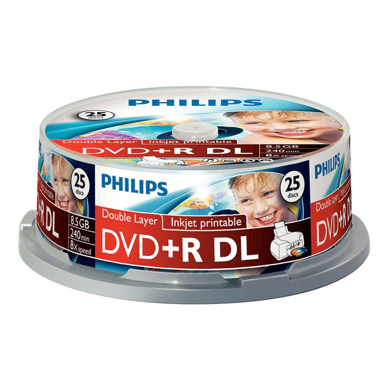 DVD+R Doble Capa 8X Philips Printable Tarrina 25 uds