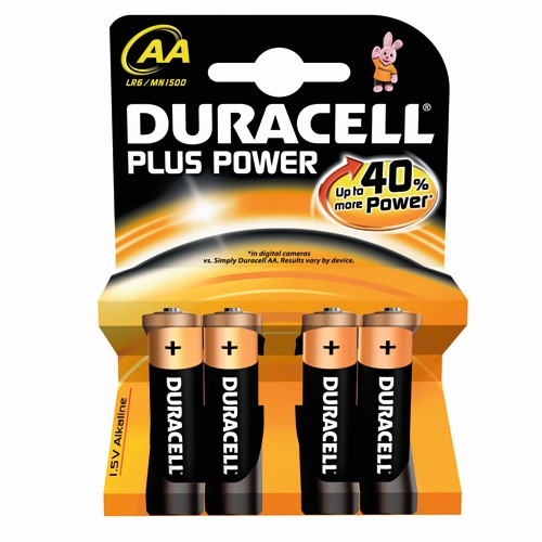 Pila Alcalina AA Duracell Plus Power MN1500B4 pack 4 uds (LR6)
