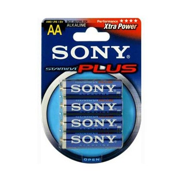 Pila Alcalina AA Sony Stamina Plus Pack 4 uds (LR6)