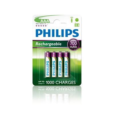 Pilas Recargables AAA NiMH 700mAh Philips pack 4 uds