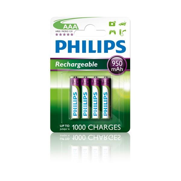 Pilas Recargables AAA NiMH 950mAh Philips pack 4 uds