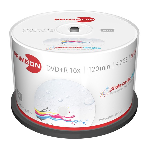 DVD+R 16X PrimeON Photo UltraGloss FF Printable Tarrina 50 uds