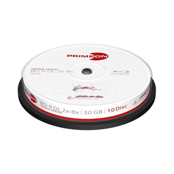 Blu-ray BD-R DL 50GB 8x Primeon Photo FF Inkjet Printable Tarrina 10 uds