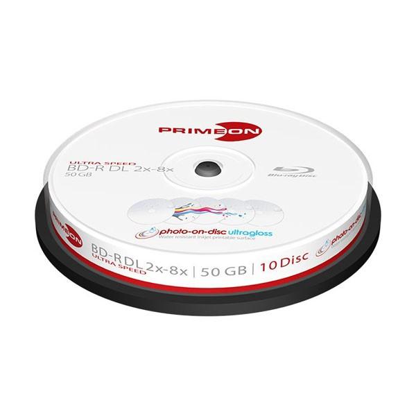 Blu-ray BD-R DL 50GB 8x Primeon Photo UltraGloss FF Inkjet Tarrina 10 ud