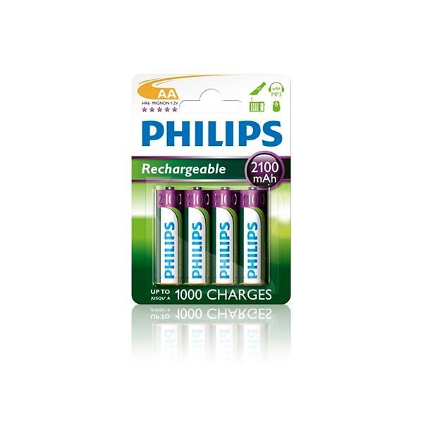 Pilas Recargables AA NiMH 2100mAh Philips Multilife pack 4 uds