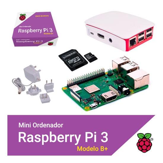 Kit Raspberry Pi 3 Modelo B+ / NOOBS 32GB / Fuente Blanca / Caja Blanca-Roja