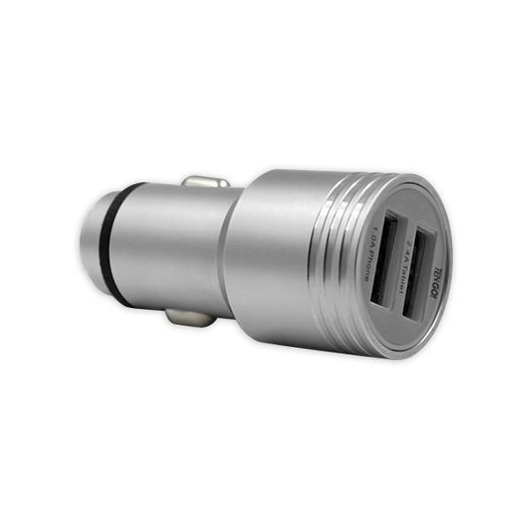 Cargador de Coche con Doble USB de Aluminio TenGo!
