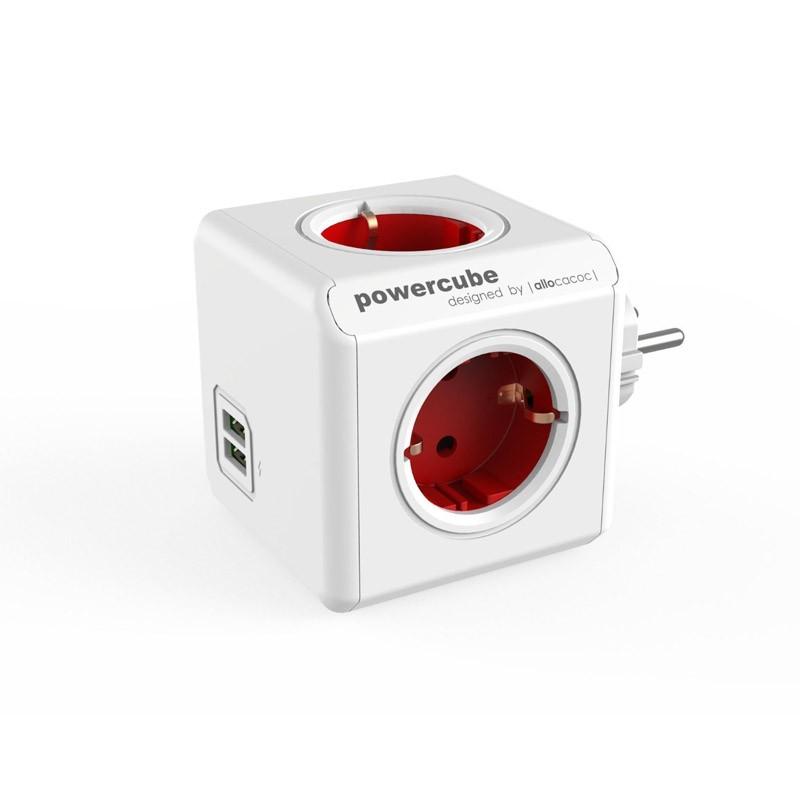 Regleta Allocacoc PowerCube 4 Tomas + 2 USB Rojo
