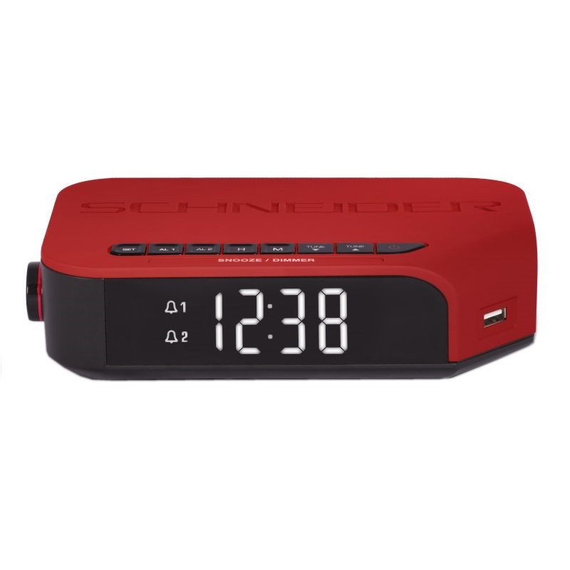 Radio Despertador Schneider Viva Rojo