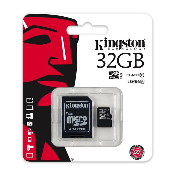 Tarjeta MicroSDHC 32GB Clase 10 UHS-I Kingston SDC10G2/32GB c/adapt