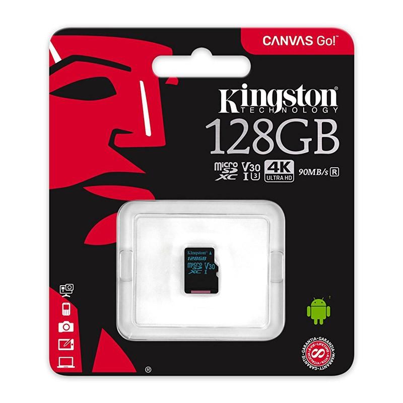Tarjeta MicroSDXC 128GB Clase 10 UHS-I U3 V30 Kingston Canvas Go!